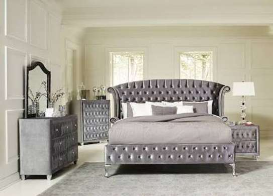 Fabric Tufted bed sets (bed+bedside drawers +ottomans+dressers) image 1