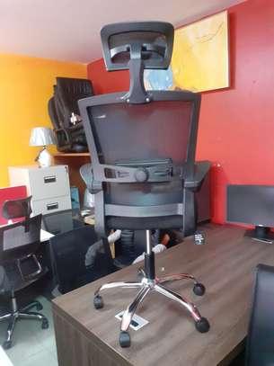 Executive Orthopedic Mesh Chairs With Tilt Mechanism, Adjustable Headrest & Foldable Arms image 1