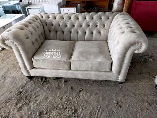 Chesterfield sofas (deep buttoned)/Two seater sofa/beige sofas image 1