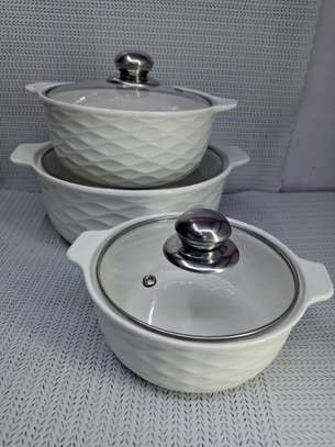 3pcs set Ceramic serving dishes with glass cover image 3