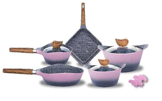 12pcs granite coated non stick cookware set- Grey and pink colours