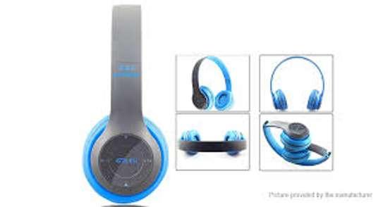 P47 Wireless Earphone Hands Free Music Headset-Blue image 1
