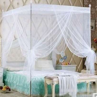 Mosquito Net with Metallic Stands - Faded Blue - 4*6 image 1