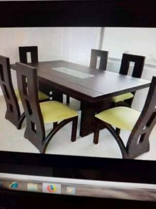 Dark solid dining table