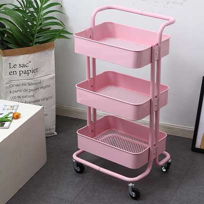 3 tier Metallic movable Trolley image 2