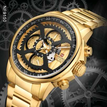 Men Fashion Luxury Quartz Wristwatch Male Casual Waterproof Clock Gold Watch image 1