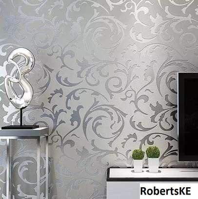Silver Floral home decor wallpaper image 1