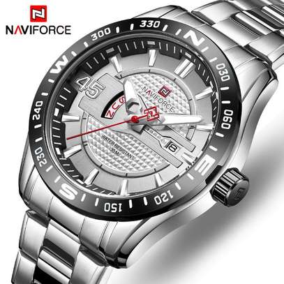 Naviforce Watches Men's NAVIFORCE Top Luxury Brand Men Fashion Sports Watches Full Steel Quartz Date Clock Man Waterproof Business Watch bi-Silver