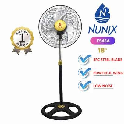 Nunix Free Standing Fan, 18 Inch - White & Black image 1