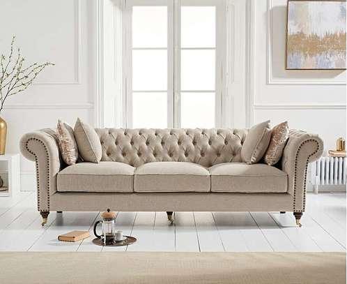 1823 Cream Linen 3 Seater Sofa image 2