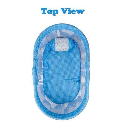 Baby carriage Multifunctional Baby Cradle Bed Crib Rocker baby Bed with Large Storage Basket & an Anti-Roll Baby Pillow image 2
