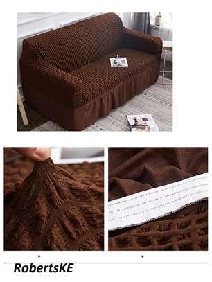 chocolate brown elastic slip cover 7 seater image 1