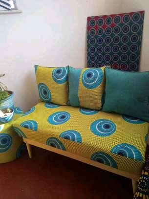 Ankara/Kitenge benches with 3 back cushions and pouf image 1
