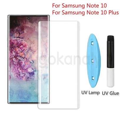 UV Light adhesive tempered glass screen protector for Samsung Galaxy Note 10,Note 10 Plus + LED Kit image 3
