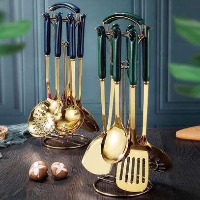 Heavy Golden Serving spoons set image 2