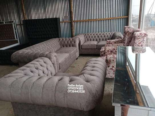 Complete set of sofas/classic livingroom sofa designs/three seater sofa/two seater sofa/wingback sofas/Victorian sofas image 1