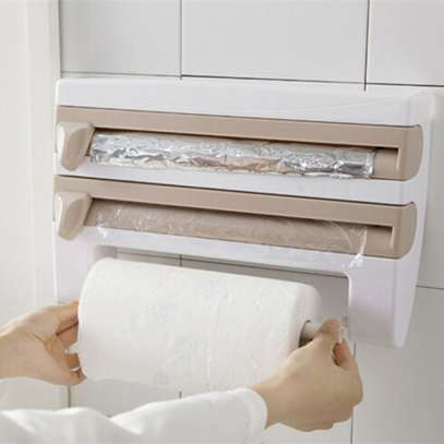 3 in 1kitchen Roll Holder Cling Film Towel Foil Dispenser Wall Mounted