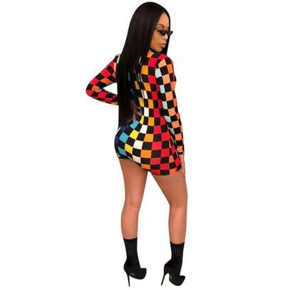 Fashion Long Sleeve Printed Plaid Playsuit-Rompers image 2