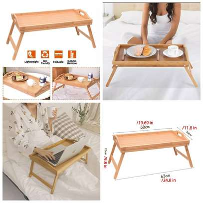 Foldable bamboo bed tray image 1