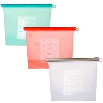 4 Pieces Reusable Silicone Food Storage Fridge Bags image 2
