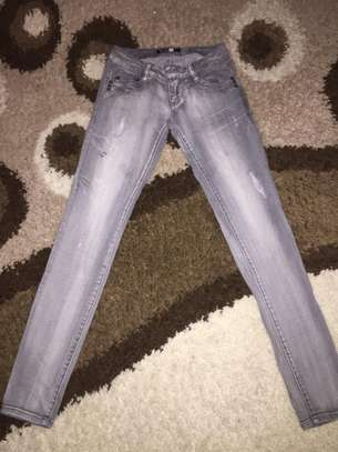 Ladies Grey Ragged Jeans