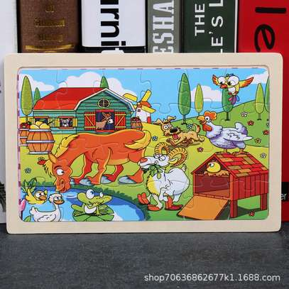 4PCS/3D Wooden Jigsaw Puzzles for Children Kids Toys Cartoon Animal/Traffic Puzzles Baby Educational Puzles image 3