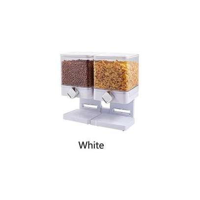Generic Square Double Cereal Dispenser -White image 1