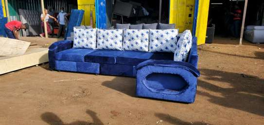 A blue unique corner sofa image 1
