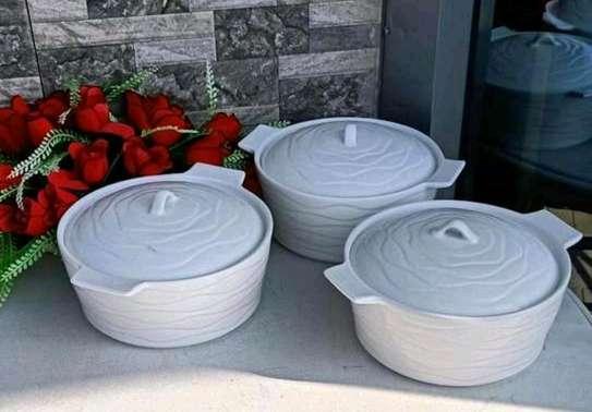 3pcs casserole set made of fine porcelain 3ltrs 4600kshs image 1