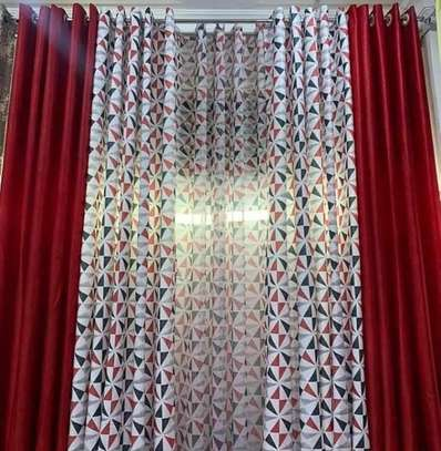 curtains maroon and printed sheers image 1