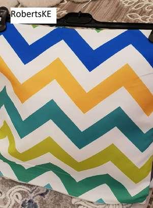 zigzag rainbow printed pillow image 1