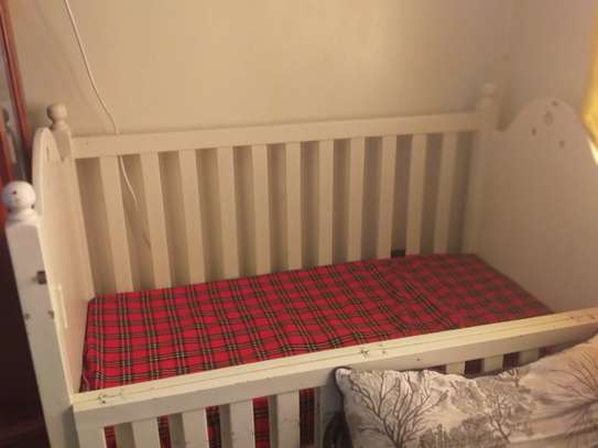 Baby cot and mattress image 2