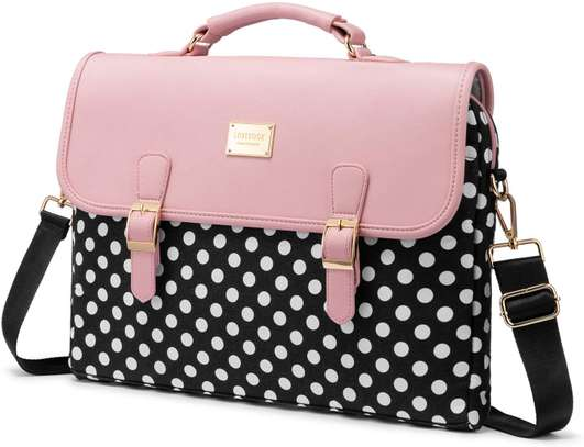 Computer Bag Laptop Bag for Women Cute Laptop Sleeve Case for Work College, Slim-Pink, 15.6-Inch image 2