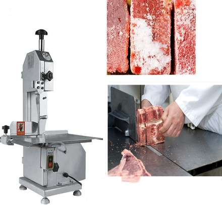 Electric Bone Saw Machine - Commercial Electric Meat Band Saw Bone Saw Machine/Cutter Heavy Duty Frozen Meat Frozen Fish Steak Cutting 650W Home Kitchen Stainless Steel image 1