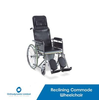 Recliner commode wheelchair image 1