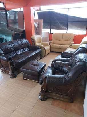 Genuine Ex Uk Leather 5 seater sofa image 1