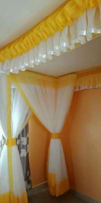 Rail Shears Mosquito Nets Sliding Like Curtains Fixed On The Ceiling image 1