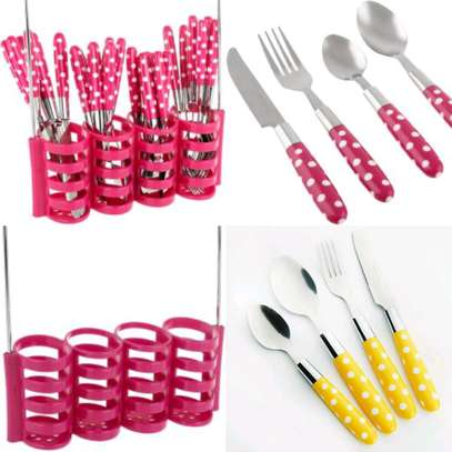 24 pcs cutlery set with plastic handle image 1