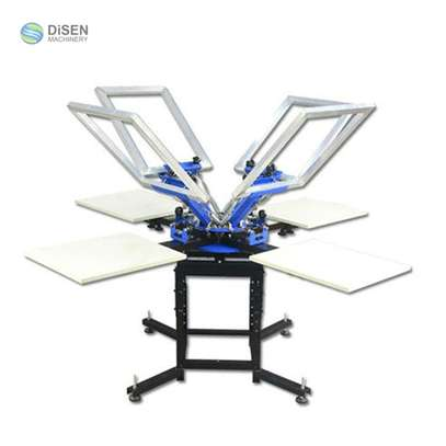 4 station 4 colors manual screen printing machine on sale. image 1