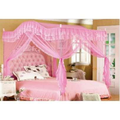 Curved Mosquito Net With Metallic Stand- Pink image 1