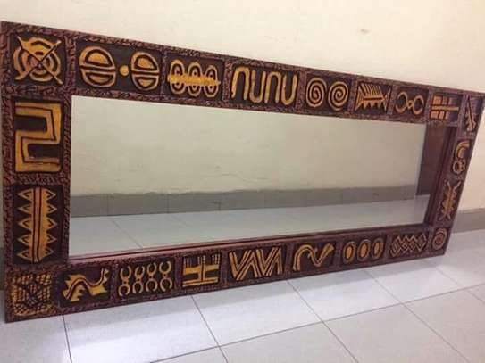 Wooden Antique Rustic Kenyan African Mirrors image 8
