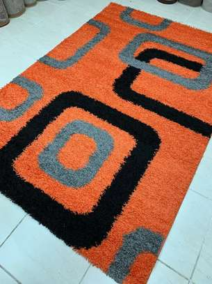 TURKISH SHAGGY CARPET ORANGE AND BLACK image 1