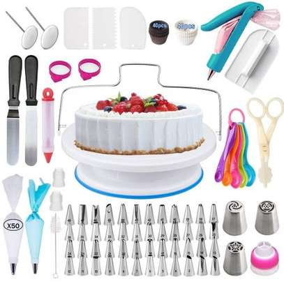 206 Pcs/set Cake Turntable Piping Tip Nozzle Pastry Bag Set image 1