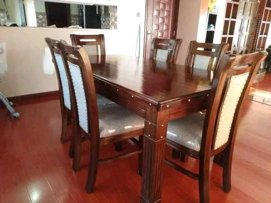 6-seater Fully-Furnished Mahogany dining set image 1