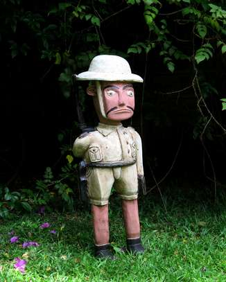 For sale Safari Pith Helmet Man fully Armed Wooden Handicraft!!