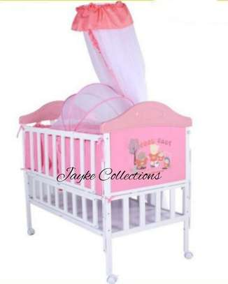 Metallic baby cots available in color brown, blue & pink image 2