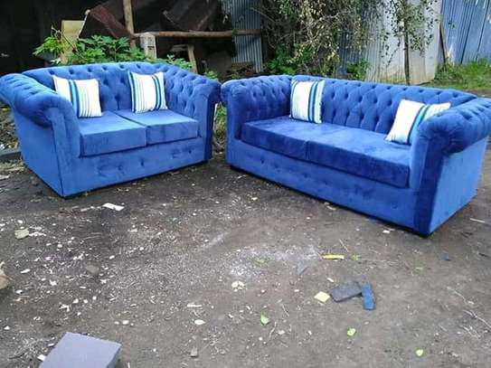 Blue 5 Seater Chesterfield Design