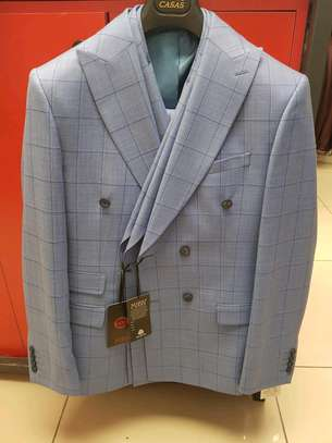 Ash grey checked double-breasted make suit 100% wool. image 3
