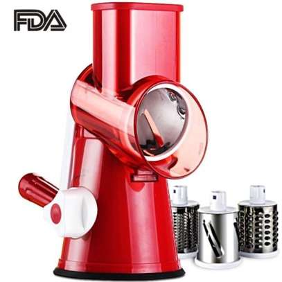 Swift Rotary Drum Grater Vegetable Cheese Cutter Slicer Shredder Grinder with 3 Interchanging Stainless Steel Drums(Red) image 1