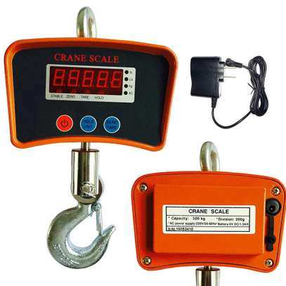 Hanging Scale, 1100Lb/500Kg Industrial Crane Hoist Scale LCD Digital Electronic Hook Hanging Weight Scale W/LED Display for Farm image 1